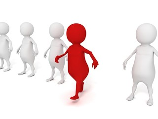 different individual 3d man in a group make first step out
