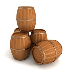 set of wooden barrels on white background