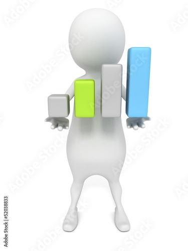 3d man holding growing progress bar chart