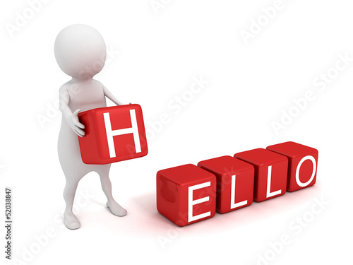 3d man with red HELLO text toy blocks