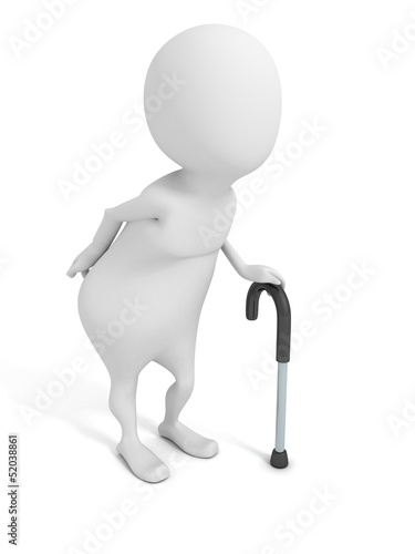 white old 3d man with walking stick