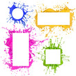 Colorful paint frames splashing isolated on white
