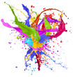 Colorful paint splashing isolated on white