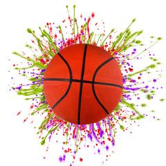 Colorful splashing with basketball isolated on white