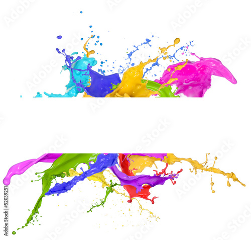 Colored splashes in abstract shape, isolated on white background - 52039251