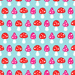 Seamless Pattern Fly Agarics Red/Pink Blue