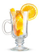 glass with orange