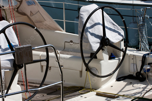 Detail of sailing yacht in port