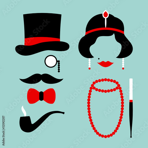 Man & Woman 20s Red/Turquoise