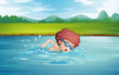 A boy swimming at the river with goggles