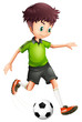A Boy With A Green Shirt Playi...