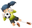 A girl catching the soccer ball