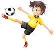 A Boy Kicking The Soccer Ball