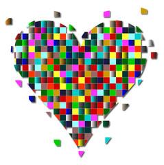 cuore composto da quadratini colorati su sfondo bianco
