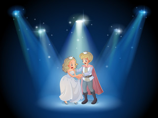 A stage with a prince and a princess