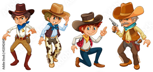Fotobehang Boerderij Four cowboys