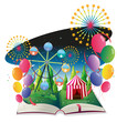 A book with an image of a carnival with balloons