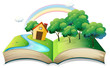 A book with a story of a house at the forest