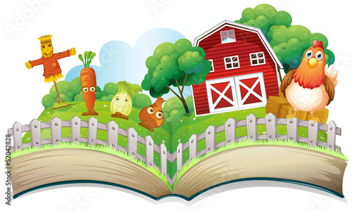 A book with an image of a farm