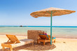 Relax under parasol on the beach of Red Sea, Egypt