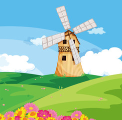 A windmill above the hill