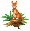 A kangaroo standing on a stump with leaves