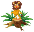 A lion standing on a stump with leaves