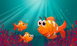 Three Fishes Under The Sea Wit...