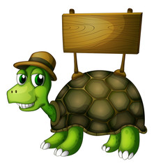 A turtle with a wooden signboard at the back