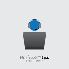 Customer support or front office worker & laptop- vector graphic