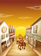 A boy riding in a horse outside the saloon