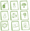 Notebooks with eco-friendly drawings