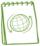 A green notebook with a drawing of a globe at the cover page