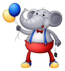 An elephant with balloons