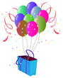 A paper bag with balloons