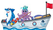 Sea creatures riding on a boat with flag