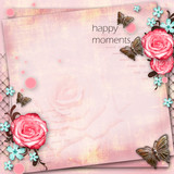greeting card with flowers, butterfly on pink paper vintage back