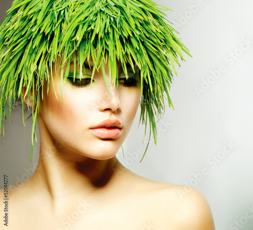 Wall mural Beauty Spring Woman with Fresh Green Grass Hair