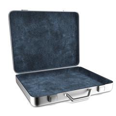 Opened Aluminum suitcase