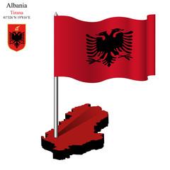 albania wavy flag over map