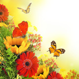 Autumn flowers, bouquet from gerber and butterfly