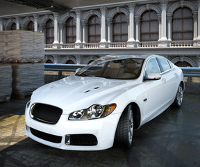 luxury sedan car with architectural background 3d illustration