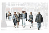 Bustling, hustling shoppers illustration