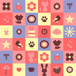 Cute childish seamless pattern with various elements
