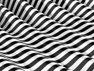 3d Striped black and white waves