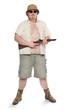 Park ranger or bodyguard dressed in a safari suit with shotgun.