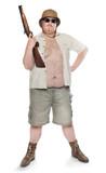 Park ranger or bodyguard dressed in a safari suit with shotgun. poster