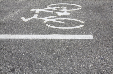 Bicycle symbol on the road