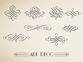 vector set calligraphic design vintage elements and  decoration