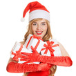 Young happy xmas woman with a gifts